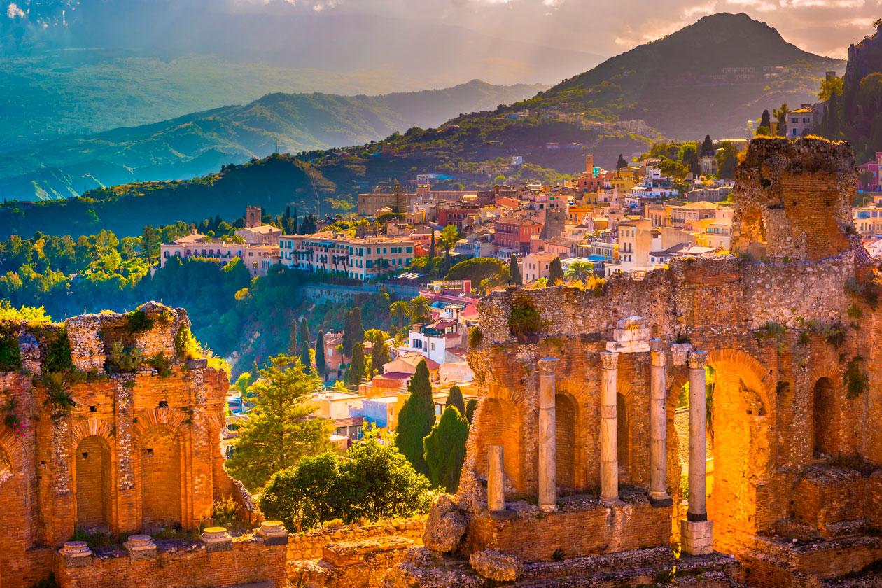 Ruinas de Taormina en Sicilia