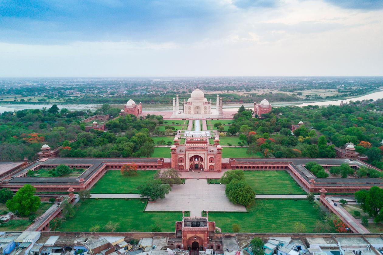Vista aerea del Taj Mahal